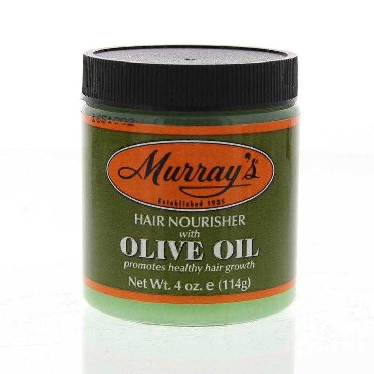 Murray's Olive Oil Hair Nourisher Pommade 114gr  Description: Murray's Olive Oil Hair Nourisher.Bevordert een gezonde haargroei. Met Olijfolie en Bijenwas. Olijfolie is een traditionele haargroei remedie voor uitgehongerd haar en droge hoofdhuid. Deze pommade verzorgt de hoofdhuid en haarwortels met eiwitten mineralen en vitaminen. Helpt gespleten haarpunten en breuk te verminderen terwijl het een superieure glans toevoegd.  Price: 6.95  Meer informatie