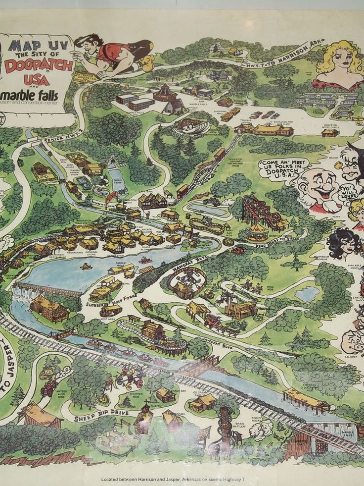 RARE 1973 DOGPATCH USA  ARKANSAS THEME PARK MAP POSTER CAPP SHMOO!
