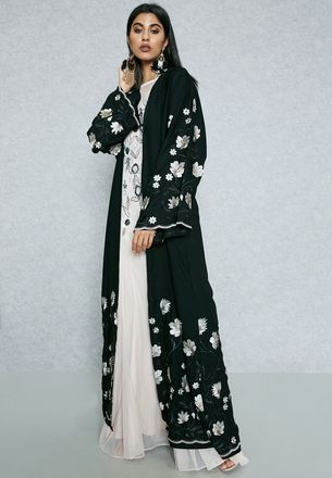Shop Hayas Closet black Embroidered Trim Abaya AWN-402 for Women in UAE
