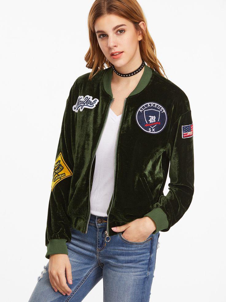 Shop Olive Green Velvet Bomber Jacket With Patch Detail online. SheIn offers Olive Green Velvet Bomber Jacket With Patch Detail & more to fit your fashionable needs.