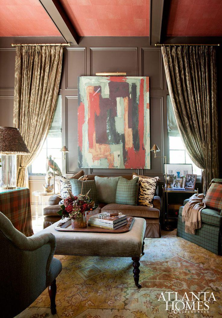 Hunter Green and Red Living Room, love! | Atlanta Homes & Lifestyles