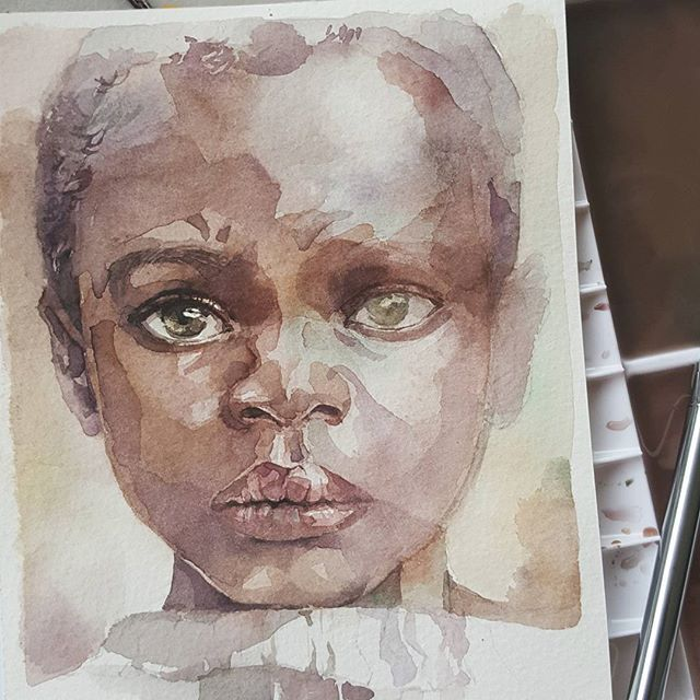 Study of a black child. Here today is rainy. I have modified my painting a little bit. It is my first formulating black skin. Next time i really want to do a black skin with purple bias. Their skin is truly beautiful. 💖 practice photo from pinterest. Prang watercolors on bockingford paper #art #artph #artsy #artdaily #instaart #watercolor #watercolorart #watercoloristsph #waterblog #portrait #portraiture #makeportraits #beauty #beautiful #aquarelle #acuarela