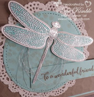 Dragonfly Dreams Bundle:  Silver embossing sets off the Pool Party wings beautifully on this handmade card from Stamping Madly.  Visit website for more details.