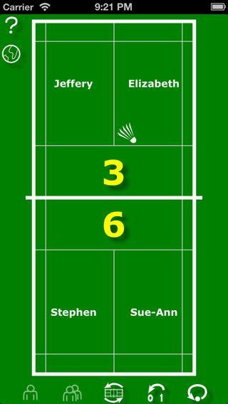 app Badminton scoring. Gratis. Muy útil para controlar la puntuación en individuales, dobles. Muy sencilla de utilizar. Se puede cambiar los nombres de los jugadores en cualquier momento. Para los alumnos genial.