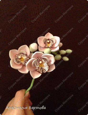 Всем доброго времени! Собрала маленькую веточку орхидеи. Сами цветы белые, лепестки тонированы пастелью. Формат 23*23 см, бумажные полосы 3 и 1,5 мм, фон - тонированная бумага. фото 2