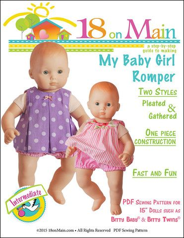 18 On Main My Baby Girl Romper Doll Clothes Pattern 15 inch American Girl Dolls | Pixie Faire