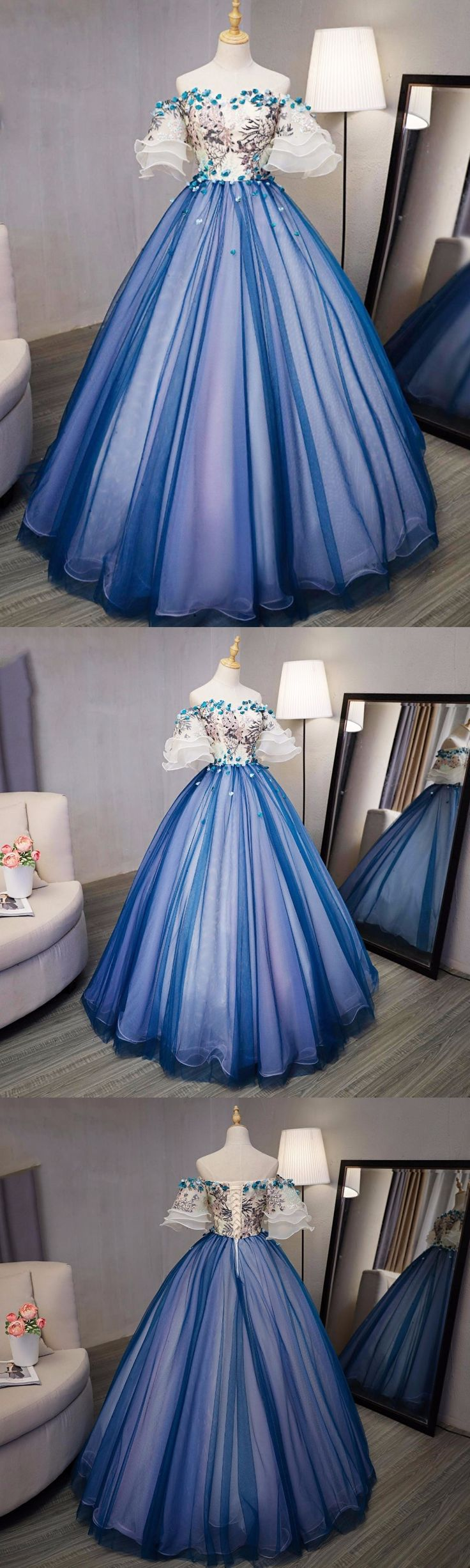 Ball Gown Prom Dresses Royal Blue and Ivory Hand-Made Flower Prom Dress/Evening Dress JKL348#annapromdress #prom #promdress #evening #eveningdress #dance #longdress #longpromdress #fashion #style #dress #ball gown