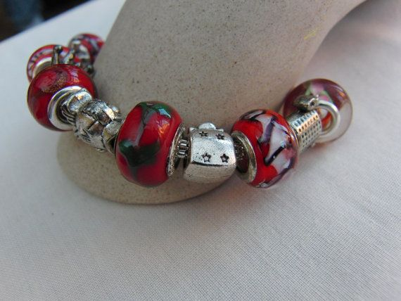 Red European Lampwork Bead Bracelet with Silver Plated Charms #etsy #etsyseller #etsyshop #etsyfinds #etsystar #valentinesdaygift #valentinesgift #motheresdaygift #jewellery