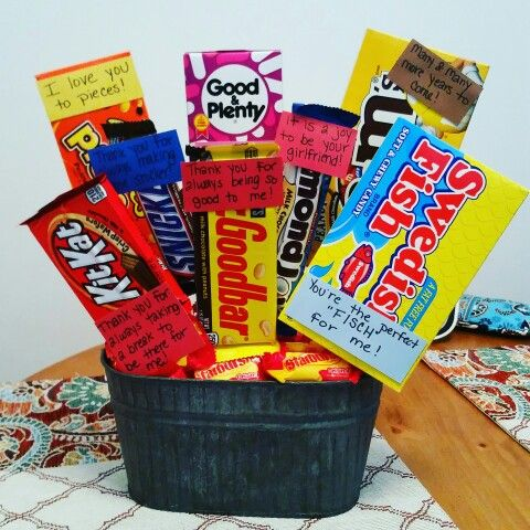 Candy bouquet with candy puns for our anniversary! :)