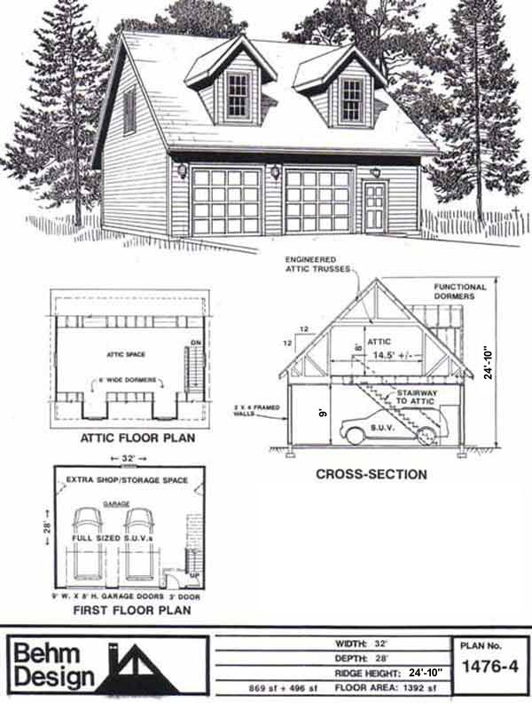 Garage With Loft Plan No. 1476-4 by Behm Design - Spacious 2 car garage with extra space at side wall for work or storage area has second story in roof, or loft, with internal stairway. A great garage for the hobbyist or home business . Dormers add lig