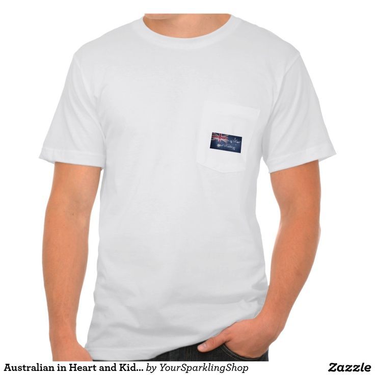 Australian in Heart & Kidneys, #Australia Men's American Apparel Pocket T-Shirt