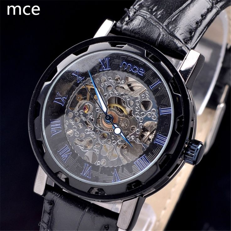 MCE Luxury brand Women's Mechanical Watch Skeleton Roman Numbers Analog display High quality black leather Mechanical wristwatch | Watchmarvels