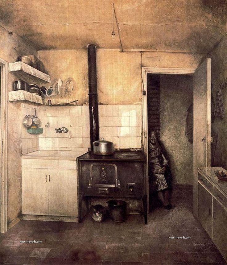 La cocina de Aurora. MANUEL LÓPEZ VILLASEÑOR. Pintor español. Realismo crítico http://trianarts.com/manuel-lopez-villasenor-realismo-critico/#sthash.O5SZP1cC.dpbs