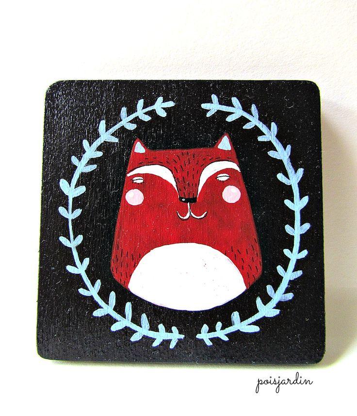 Handpainted fridge magnet by poisjardin. www.facebook.com/poisjardin