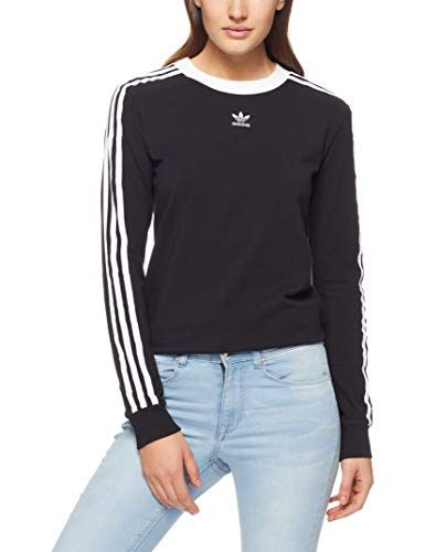 7f01f346a7f adidas Women s 3-Stripes Long Sleeve T-Shirt Black 12 UK