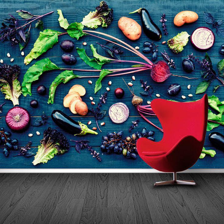 Fotobehang Groente op tafel | Maak het jezelf eenvoudig en bestel fotobehang voorzien van een lijmlaag bij YouPri om zo gemakkelijk jouw woonruimte een nieuwe stijl te geven. Voor het behangen heb je alleen water nodig!   #behang #fotobehang #print #opdruk #afbeelding #diy #behangen #groente #gezond #eten #voedsel #lekker #keuken #koken