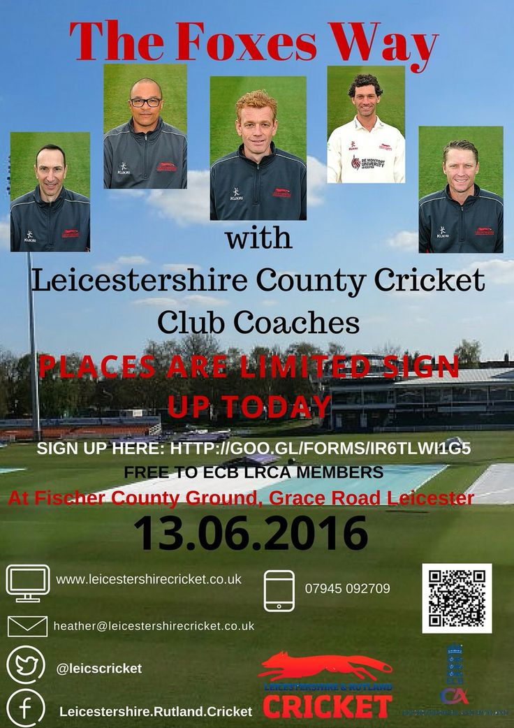 "Coach development day ""The Foxes Way"" You need to be a member of Leicestershire & Rutland CA in order to be apart of this great night. It is happening on Monday 13th June sign up http://goo.gl/forms/XYp5KzEOxkggL4X22"