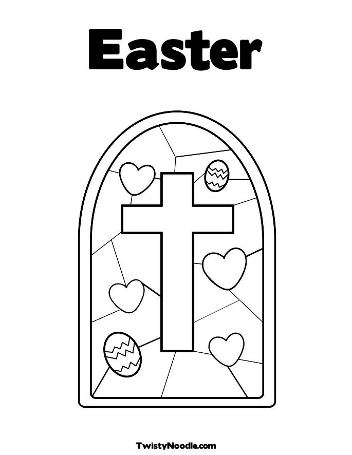 Stained Glass with Cross Coloring Page Easter