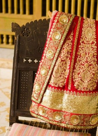 Lehenga sari in red and gold