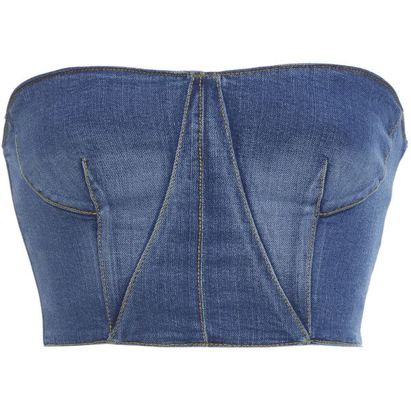 Jonathan Simkhai Denim Bustier Top ($395) ❤ liked on Polyvore featuring tops, blue, blue bustier top, blue top, blue bustier, bustier tops and strapless tops