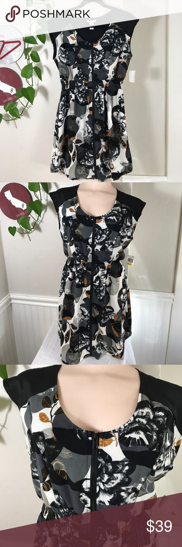 "Bar Iii Women's Floral Zip Front Dress Egret Combo Bar Iii Women's Floral Zip Front Dress Egret Combo. B042. Fabric: 98% Polyester 2% Spandex. Lightweight. Small is 18"" across armpit to armpit 34"" long. Medium is 19"" across armpit to armpit 34"" long. XL is 21"" across armpit to armpit 36"" long.Size Type: Sleeveless, Front Zipper. Elastic Waistband. Bar III Dresses Midi"