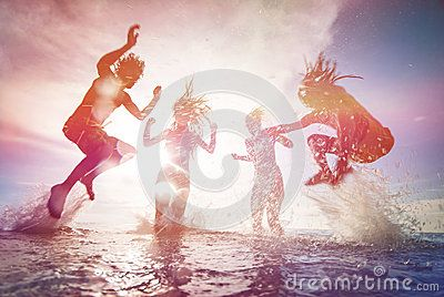 Silhouettes Of Happy Young People - Download From Over 50 Million High Quality Stock Photos, Images, Vectors. Sign up for FREE today. Image: 46994462