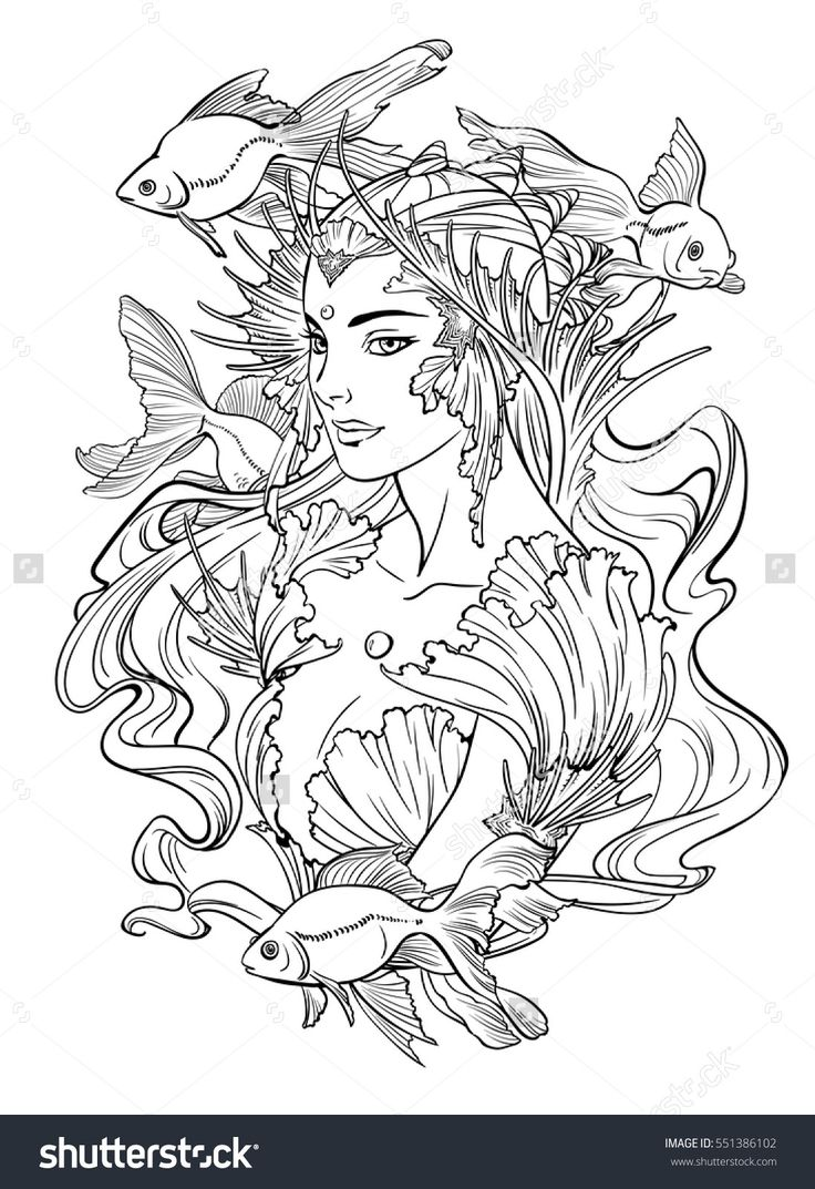 Illustration Of Mermaid Princess With Curled Hair Decorated Seashell Elements And Goldfishes Black White Anti Stress Adult Coloring Books