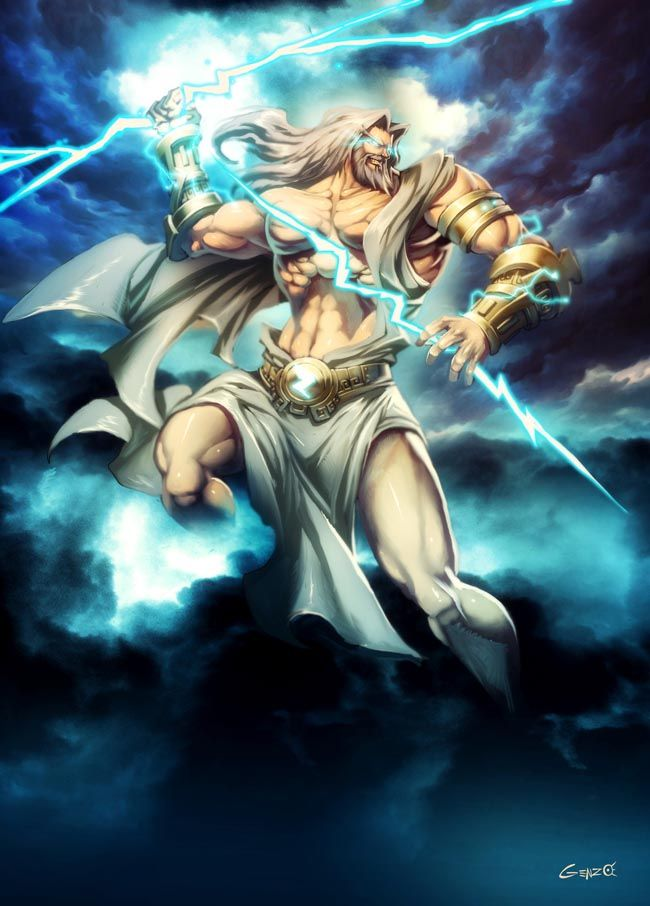 "Father Zeus by *GENZOMAN on deviantART, Zeus in Greek mythology, king of the gods, ruler of Mount Olympus & the god of the sky and thunder. His symbols are the thunderbolt, eagle, bull, and oak. In addition to his Indo-European inheritance, the classical ""cloud-gatherer"" also derives certain iconographic traits from the cultures of the ancient Near East, such as the scepter."