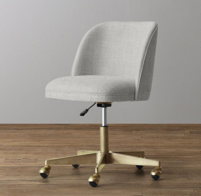 Alessa Upholstered Desk Chair - Antiqued Brass, Belgian linen 'dove' - Best 25+ Upholstered Desk Chair Ideas Only On Pinterest Office