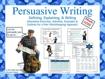 Common Core approach to Persuasive writing using step-by-step instructions for students. Includes 20 pages of: Definition Persuasive vs. Argumentative Whole/small group and individual activities Ethical Writers Examples of Thesis/Topic Sentences/Details/Facts...