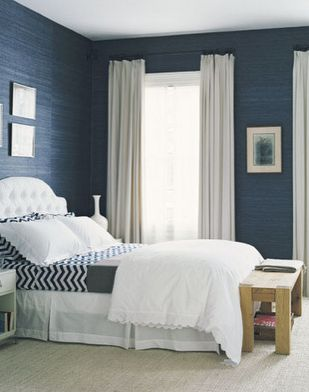 cool contrast.  blue grasscloth + white accents + a touch of pattern. I like the navy walls.