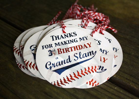 12 BASEBALL GIFT TAGS - party favors - custom text - 3 inch circle - Twinery Baker's Twine