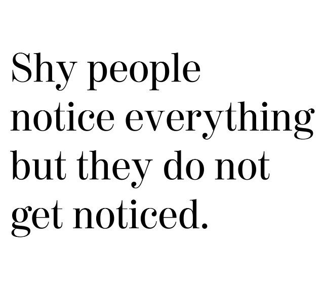 Not so sure I am so shy anymore, but possibly why I notice everything.