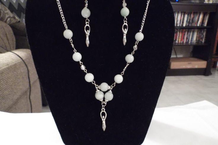 Beautiful Amazonite Goddess Pendant Necklace and Earring Set by HealingAuras on Etsy