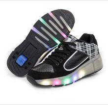 Nieuwe Kind Heelys Jazzy Junior Meisjes Jongens LED Licht Heelys Roller Skate Schoenen Voor Kinderen Kids Sneakers Met Wielen(China (Mainland))
