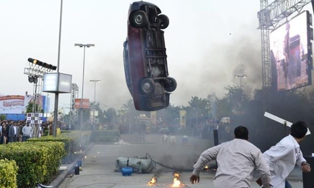 A scene during the shooting of the upcoming film Shootout at Wadala in Noida, India.