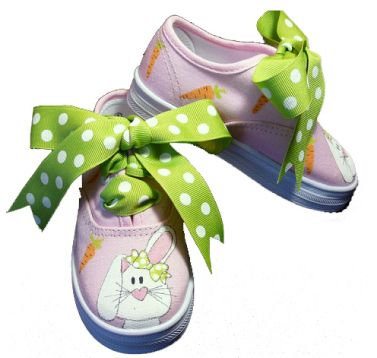 Tickled Toes Bunny Pink Canvas Lace Up Shoes