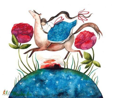 Két szál pünkösdrózsa - Print (Akvarell), Képzőművészet , Baba-mama-gyerek, Magyar motívumokkal, Illusztráció, Meska