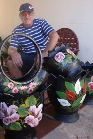 These are lovely.  If you paint well or even not so well like me, you could create masterpieces. Join the fun in the world of upcycled tires and get more ideas at http://shop.tirecrafting.com/