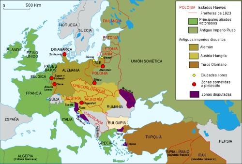 Mapa de Europa en 1923, tras el Tratado de Versalles