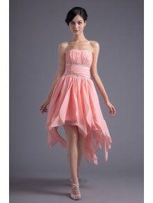 Chiffon Strapless Corset Short Sequins Cocktail Dress