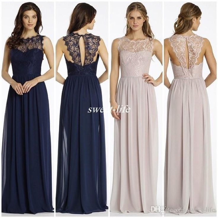 New Design Lace Bridesmaid Dresses Long Navy Blue Chiffon Backless Sheer Bateau…