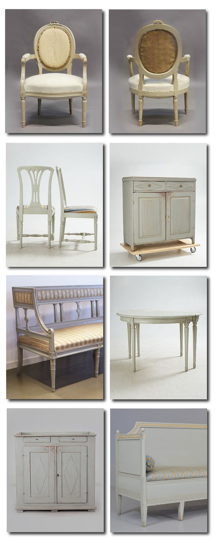 Gustavian Furniture In Gray --- Love this. We have many similarly designed pieces at Pavement!