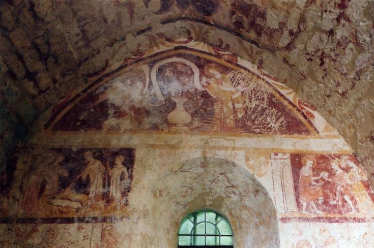 Fresque de l'Annonciation sur le mur nord de la chapelle nord début XIV