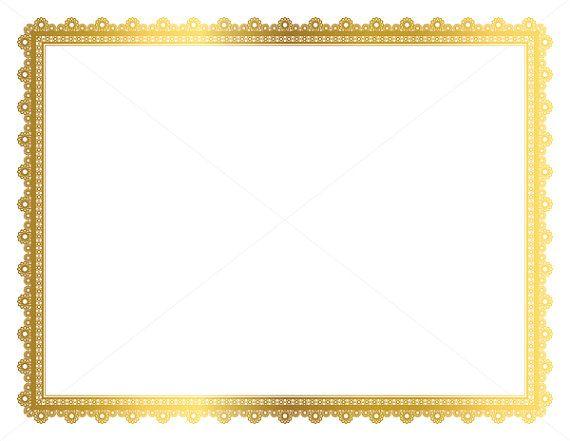 Gold Decorative Frame, Page Border, Digital Frame, Border Paper, Digital Page Border, Gold Border, Vintage Frame, Certificate Frame