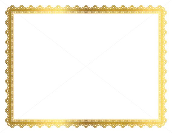 Gold Decorative Frame, Page Border, Digital Frame, Certificate Frame.  Gold graphics.  Small commercial and Personal use OK.