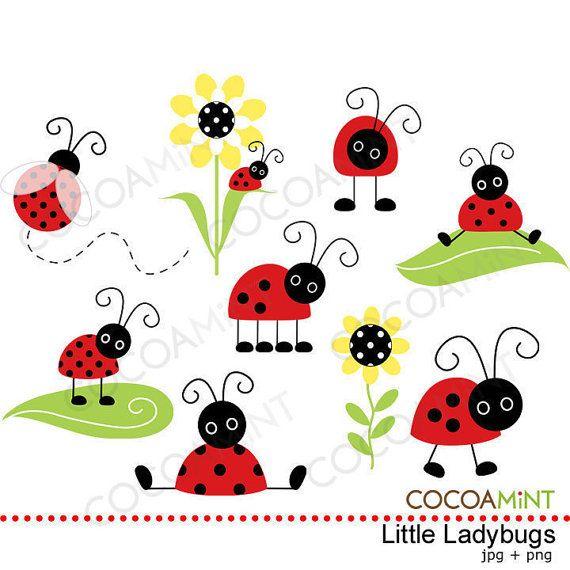 Little Ladybugs Clip Art por cocoamint en Etsy