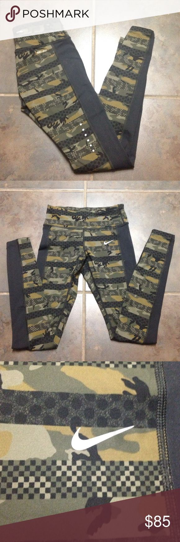 NIKE DRY FIT CAMO LEGGINGS!! NWOT Please someone scoop these up! They are so cute, I just had to have them, but my darn belly is just too big! They do make my butt look really good, though. These have never been worn out of the house, unfortunately. Nike Pants