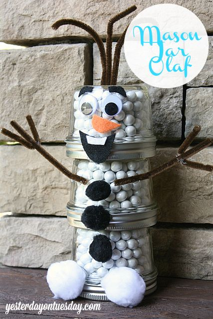 Frozen Craft Ideas #Frozen #Olaf #MasonJars