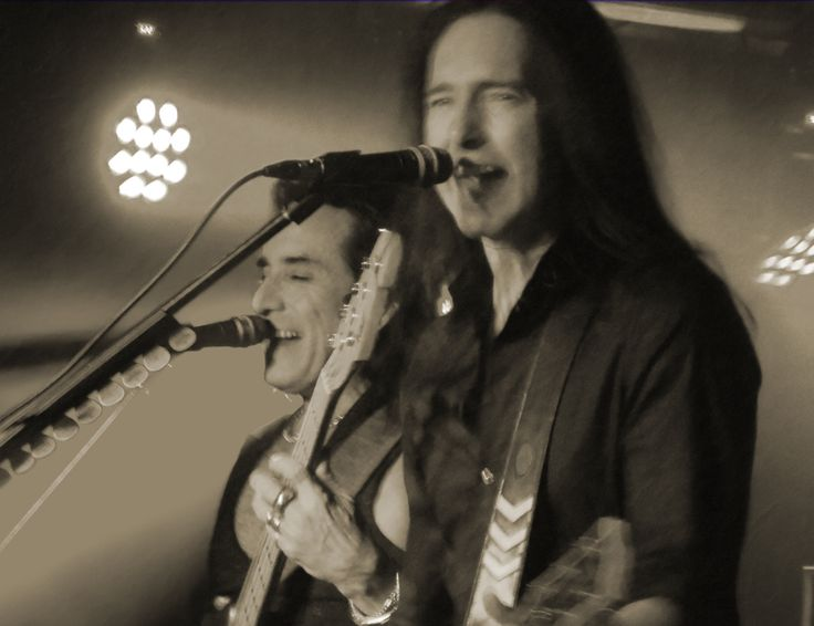 Marco Mendoza and Damon Johnson on stage at Black Star Riders' first ever gig at the Marshall Amps Theatre Milton Keynes 2013 - rock music, guitar, singing